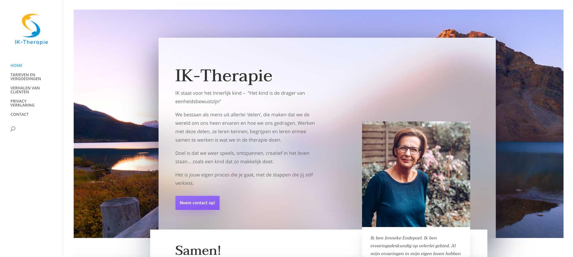Website IKTHERAPIE voorpagina